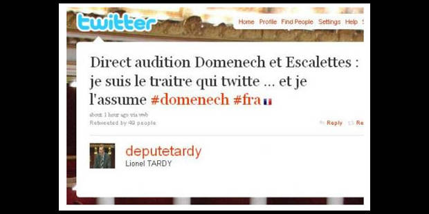 Audition Domenech/Escalettes: Le huis clos brisé sur Twitter - La Libre