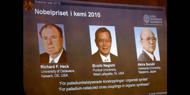 Le Nobel de chimie à un Américain et deux Japonais - La Libre