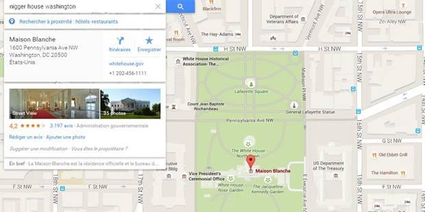 Sur Google maps, taper des termes racistes mène tout droit... à la Maison Blanche - La Libre