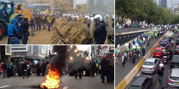Manifestation à Bruxelles : heurts à Schuman, trois policiers blessés - La Libre