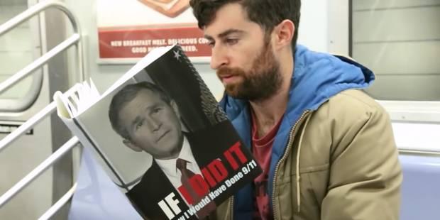 Dans le métro, un homme lit des livres dont le titre est ridicule ou scandaleux - La Libre