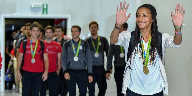 """JO : les athlètes belges de retour au pays, Nafi Thiam a """"encore du mal à réaliser"""" (Photos et Vidéos) - La Libre"""