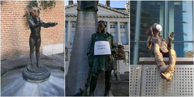 Bruxsel'air pose des masques antipollution sur les statues de la capitale, Frémault réagit - La Libre