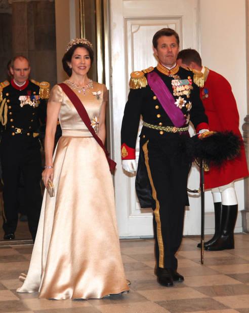 Lors de la soirée d'accueil du couple royal belge.