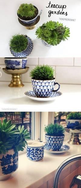 Dans des tasses de thé