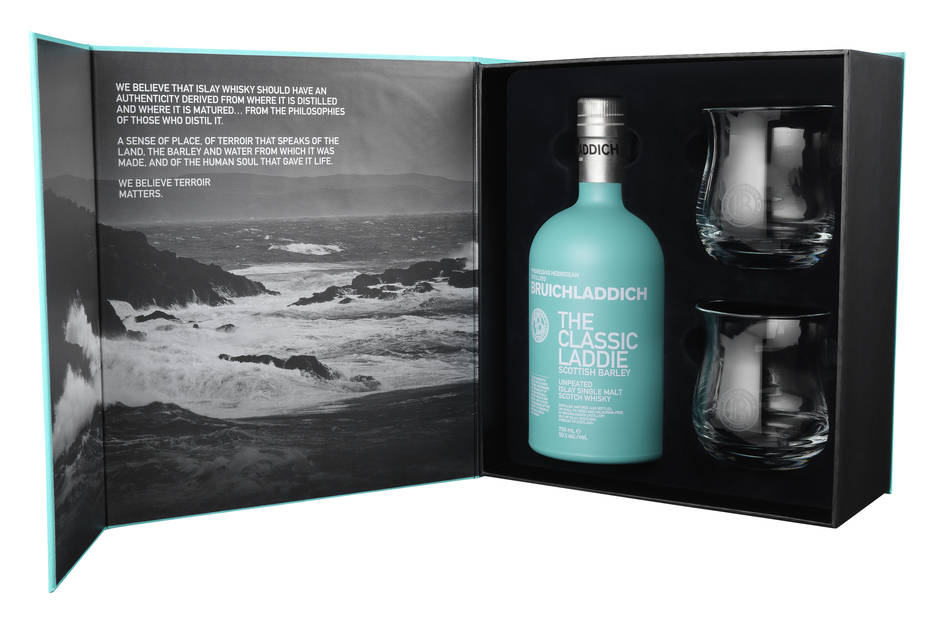 Un coffret magnifique : celui du whisky Bruicladdich, Classic Laddie, 55€ (cavistes)