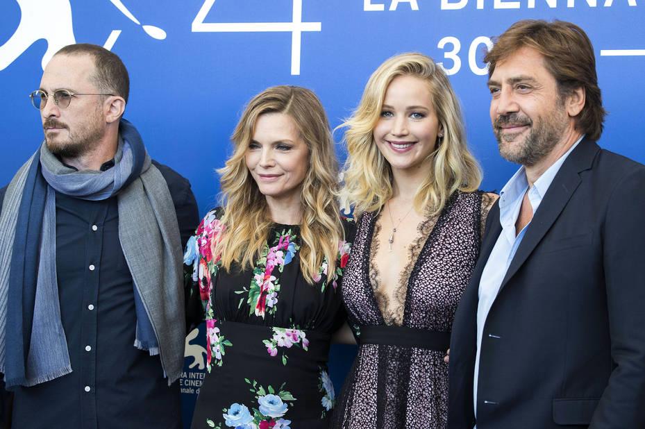 Darren Aronofsky, Michelle Pfeiffer, Jennifer Lawrence and Javier Bardem