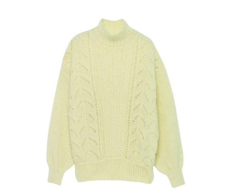 Pull col cheminée en laine avec motifs crochetés, American Vintage, pnc