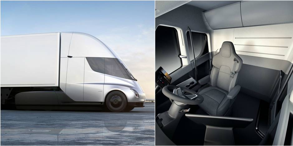 tesla d voile un camion lectrique 800 km d 39 autonomie. Black Bedroom Furniture Sets. Home Design Ideas
