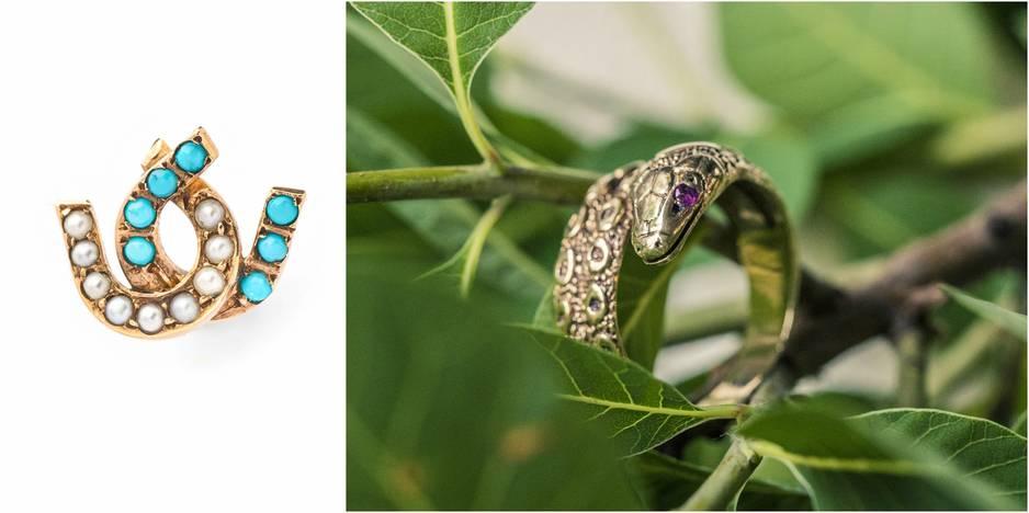Dans sa boutique, Axelle Delhaye rassemble des bijoux qu'elle sélectionne elle-même avec un oeil de passionnée. Ici, une boucle d'oreille unique Cynthia, 165€ et une bague serpent en or et améthyste, 550€.                                     http://axelledelhaye.com/