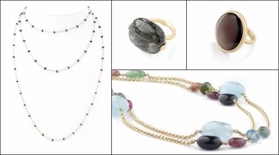 Quartz, tourmaline, calcédoine, petits diamants, ... les pierres précieuses utilisées par la créatrice Fabienne Kriwin sont toujours rassemblées par l'or brossé. Légers et ludiques ou puissants et affirmés, les bijoux de Fabienne Kriwin sont subtils et racés. Modèles présentés : tourmaline et quartz, or 18 carats, pnc.                                                                                      www.fabiennekriwin.com