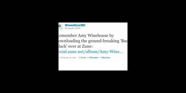 """Les excuses de Microsoft pour un """"tweet"""" malencontreux sur Amy Winehouse - La Libre"""