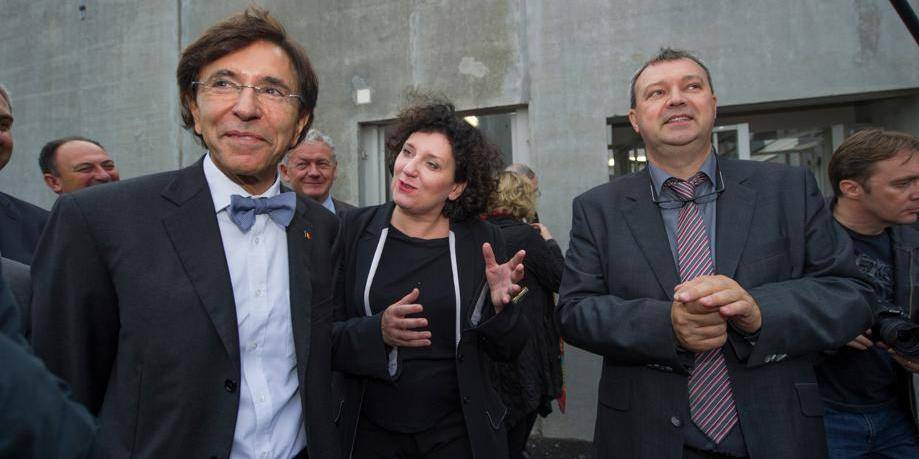 20131017 - MARCHE-EN-FAMENNE, BELGIUM: Prime Minister Elio Di Rupo, Minister of Justice Annemie Turtelboom and prison director Frederic de Thier pictured during the opening of a new prison in Marche-en-Famenne, Thursday 17 October 2013. BELGA PHOTO ANTHONY DEHEZ