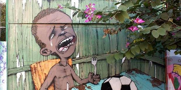 Une oeuvre de street art devient le symbole des anti-Coupe du Monde - La Libre