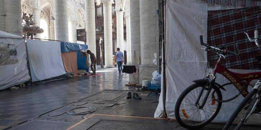 Reprise des manifestations des Afghans de l'église du Béguinage à Bruxelles