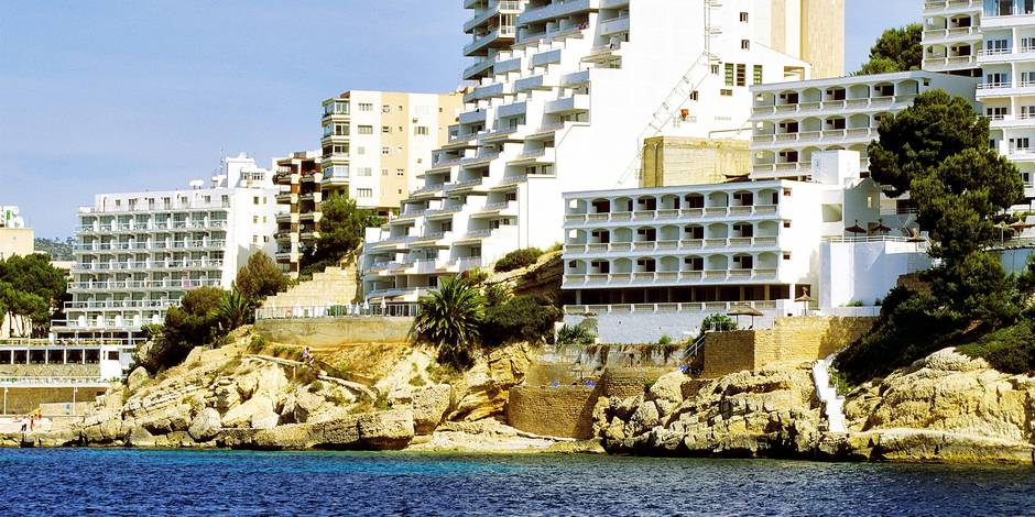 Balearic Islands, Majorca, South East of Palma, seaside buildings