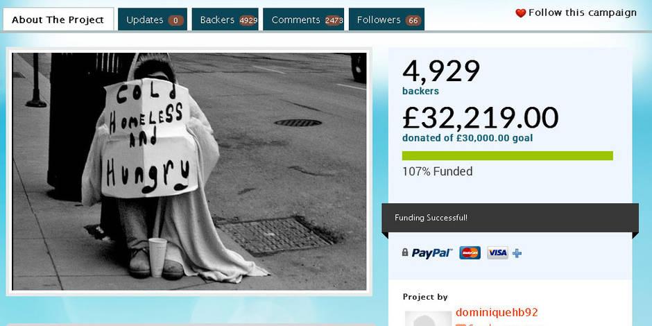 Aidée par un SDF, une étudiante le remercie en lui offrant 40.000 euros