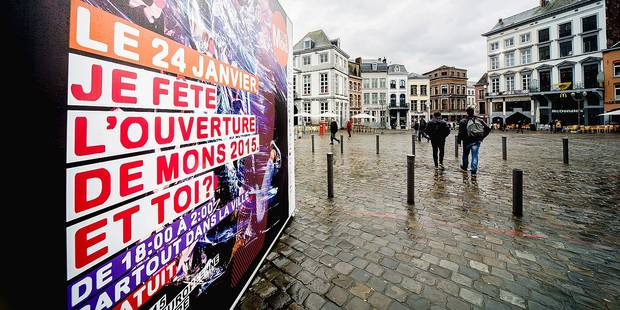 20150113 - MONS, BELGIUM: Illustration picture shows a banner of Mons Cultural Capital, on Tuesday 13 January 2015, in Mons city center. On January 24th 2015, Mons kicks off its run as European Capital of Culture 2015. BELGA PHOTO SISKA GREMMELPREZ