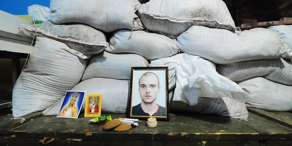 February 16, 2015, Shchastya, Lugansk Oblast, Ukraine. A picture of a fallen sldier is kept in the army's HQ as a reminder. The cease fire signed between the West, and Russia on the Ukrainian conflict has so far been mostly respected, except for the Debaltseve railway hub, where separatists continue their assault on the town. In the other hot spot which was also hotly contested by both sides, the town of Shchastya, has remained calm with both sides no longer firing at each other with artillery fire. A little bit of normality has came back in the town, where people can be seen walking about town. (Jonathan Alpeyrie/Polaris Images) © PHOTO NEWS / PICTURES NOT INCLUDED IN THE CONTRACTS *** local caption *** 05074934