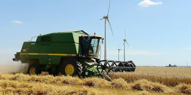 Moissons agriculture culture céréales ferme machine agricole été saison soleil champs vert écologie écolo bio travail énergie vent éolienne paysage Wallonie électricité