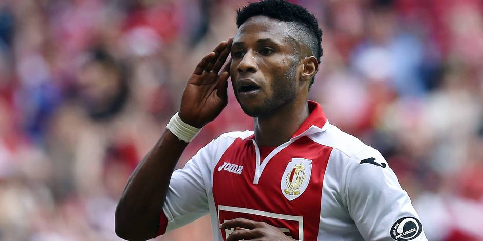 20150524 - LIEGE, BELGIUM: Standard's Imoh Ezekiel celebrates after scoring during the Jupiler Pro League match between Standard de Liege and Sporting Charleroi, Sunday 24 May 2015 in Liege, on the tenth and last day of the Play-off 1. Standard and Charleroi are playing for the fourth place (Europa League qualification). BELGA PHOTO JOHN THYS