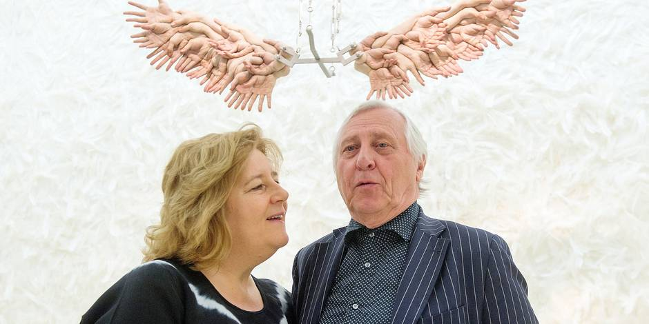 British director Peter Greenaway and his wife, Dutch director Saskia Boddeke, stand in the exhibition 'Obedience. An installation in 15 Rooms' at the Jewish Museum in Berlin, Germany, 21 May 2015. Their interpretations of the biblical story of God's order to Abraham to sacrifice his own son can be seen here until 13 September 2015. Photo: MAURIZIO GAMBARINI/dpa Reporters / DPA