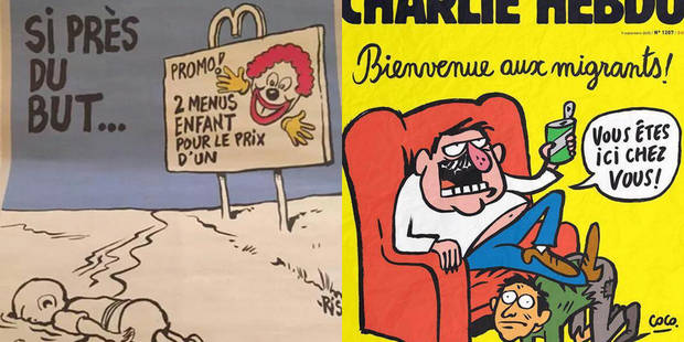 Les nouvelles caricatures de Charlie Hebdo sur les migrants créent la polémique - La Libre