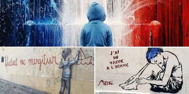 Attentats de Paris: Le street-art en guise de catharsis (GALERIE PHOTOS) - La Libre