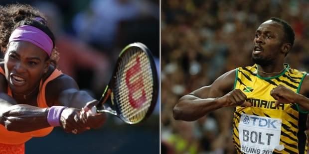 "Usain Bolt et Serena Williams ""Champion des champions 2015 Monde"" de L'Equipe - La Libre"