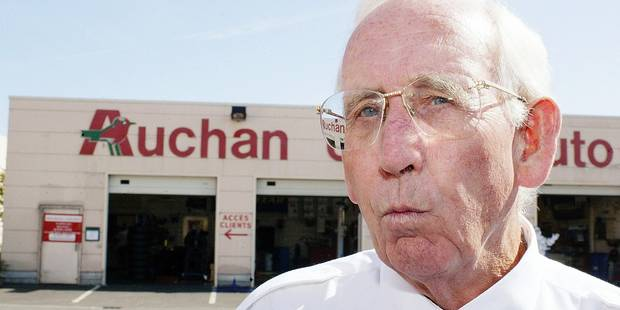 Gerard Mulliez, founder of Auchan, speaks in front of hypermarket Auchan, in Englos, near Lille. Photo by Lucas Schifres/ABACA. ABACA 69619