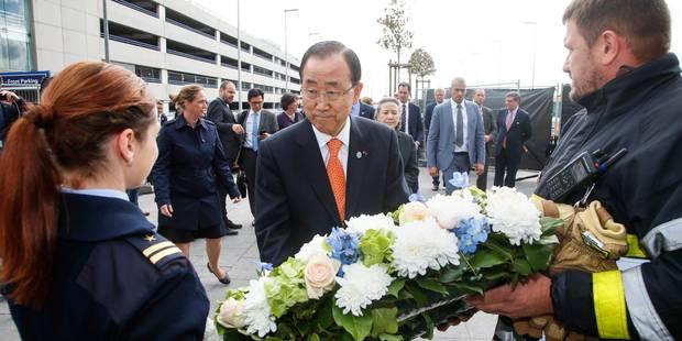 Attentat de Bruxelles: Ban Ki-moon rend hommage aux victimes à Brussels Airport - La Libre