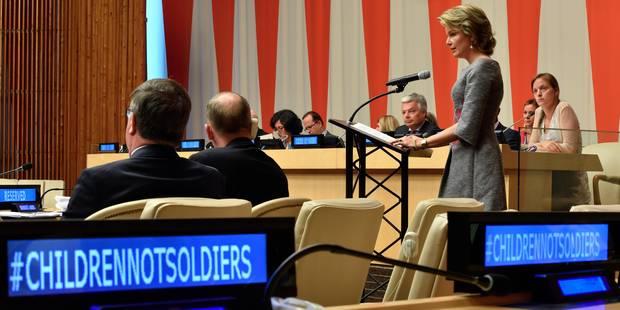 La reine Mathilde évoque le sort des enfants dans les conflits à New York - La Libre