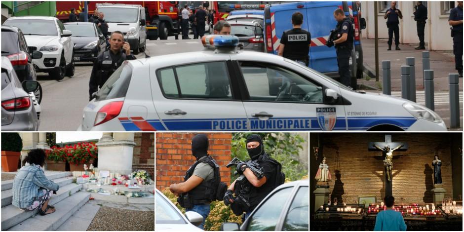 """Attentat dans une église en France: l'un des deux auteurs """"formellement identifié"""", il était placé sous surveillance électronique"""