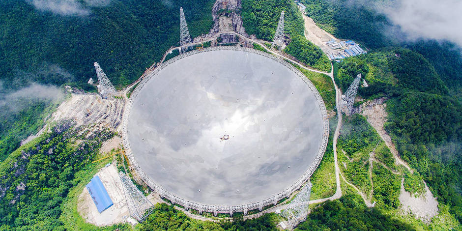 "(160621) -- GUIYANG, June 21, 2016 () -- Photo taken on June 21, 2016 shows the single-aperture spherical telescope ""FAST"" in Pingtang County, southwest China's Guizhou Province. The 500-meter aperture spherical telescope (FAST), to be completed within 2016, is expected to be the world's largest, overtaking Puerto Rico's Arecibo Observatory, which is 300 meters in diameter. (Xinhua/Liu Xu) (zkr) Reporters / Photoshot"