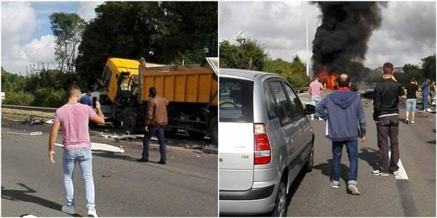 Spectaculaire accident en région liégeoise: un camion emboutit des voitures et prend feu, plusieurs explosions (PHOTOS) ...