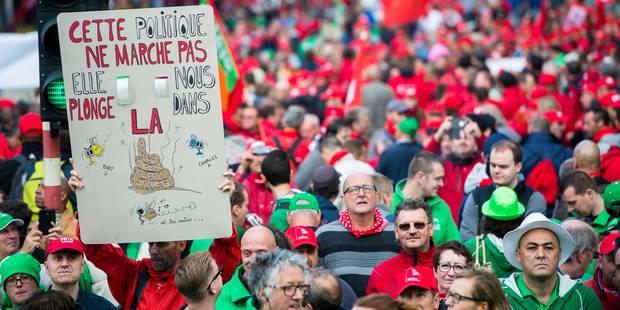 """Manifestation nationale: les syndicats sont venus défendre leur """"vision de la société"""" dans la rue - La Libre"""
