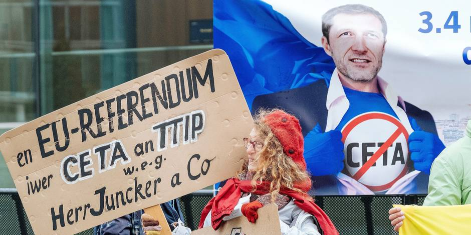 Luxembourg , Luxembourg , Oct 18 , 2016 - Greenpeace demonstration against CETA at the occasion of the Commerce Eurocouncil meeting Copyright Thomas Leonard / Reporters Reporters / GYS