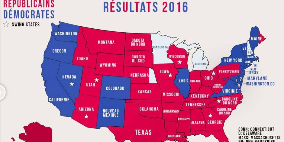 Donald Trump 45e président des USA: voici la carte récapitulative avec les différents Etats
