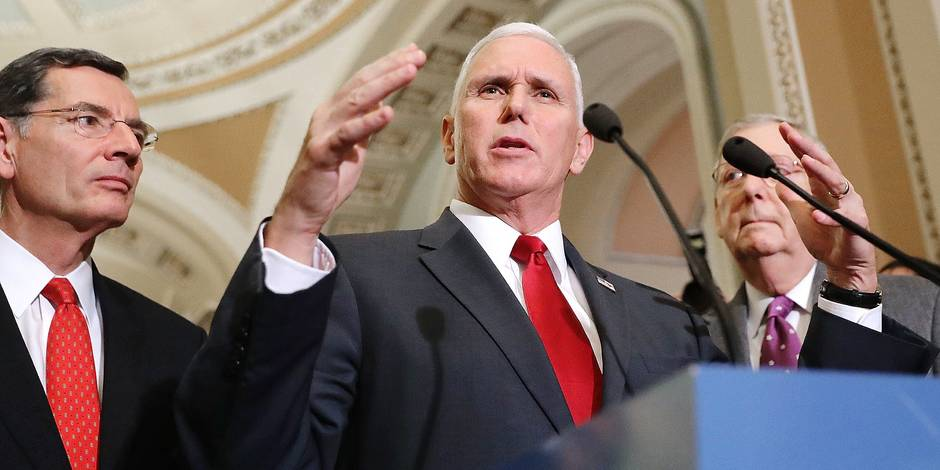 WASHINGTON, DC - JANUARY 04: U.S. Vice President-elect Mike Pence (C) speaks with reporters with Sen. John Barrasso (R-WY) (L) and Senate Majority Leader Mitch McConnell (R-KY) following a GOP caucus meeting at the U.S. Capitol January 4, 2017 in Washington, DC. Pence joined the meeting and talked with the Republican Senators about repealing and replacing Obamacare during the first caucus meeting of the 115th Congress. Chip Somodevilla/Getty Images/AFP == FOR NEWSPAPERS, INTERNET, TELCOS & TELEVISION USE ONLY ==