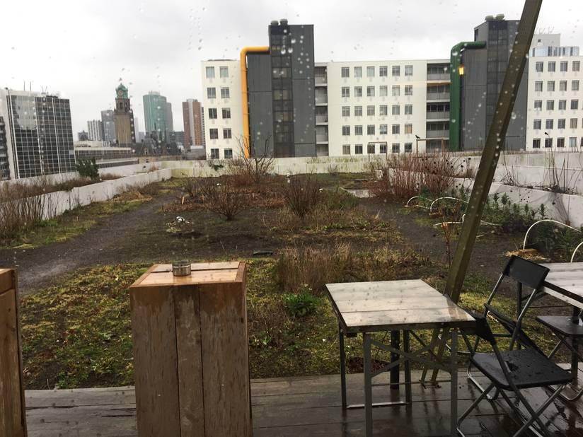 Le dernier étage de cet immeuble accueille un bar-restaurant où l'on sert (en saison) les légumes cultivés dans une mini-ferme urbaine installée sur le toit.