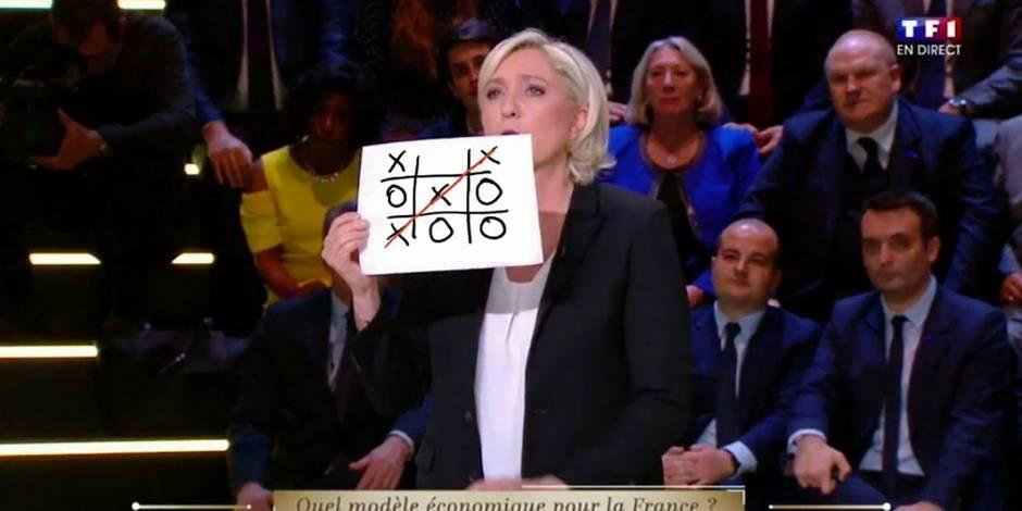 Grand débat de TF1: Marine Le Pen et son graphique détournés sur les réseaux (PHOTOS)