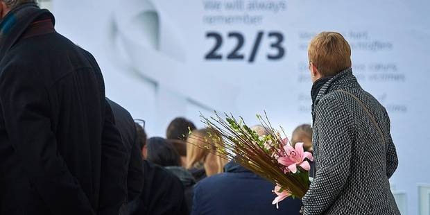 Belgium, Brussels - March 22, 2017 - Commemoration ceremony in Brussels Airport one year after the terrorist bomb attack in the presence of King Philippe and Queen Mathilde Picture by Eric Herchaft © Reporters Reporters / HERCHAFT