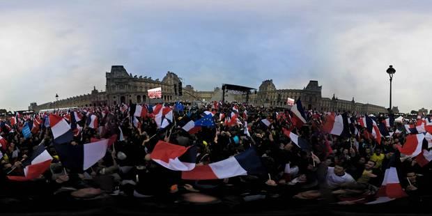 Mer de drapeaux, cris de joie et hymne européen: Macron fête sa victoire au Louvre (VIDEOS) - La Libre