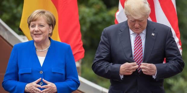 """La Maison Blanche dégaine l'extincteur: """"Trump et Merkel s'entendent très bien"""" - La Libre"""