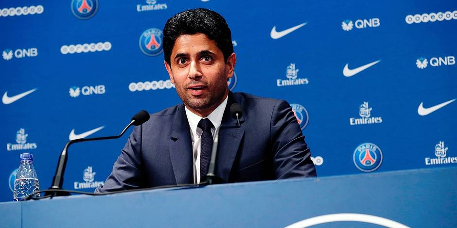 (FILES) This file photo taken on July 12, 2017 shows Paris Saint Germain's (PSG) Qatari president Nasser Al-Khelaifi giving a press conference in Paris, to present a new player. Barcelona confirmed Neymar's wish to leave the Catalan giants on August 2, 2017, but insisted the Brazilian's 222 million euro ($260 million) buyout clause must be paid as his potential world record move to Paris Saint-Germain moved a step closer. Winning the Champions League for a first time is the dream driving PSG's owners Oryx Qatar Sports Investments (QSI) to fund a deal that could herald the start of a new era at the elite level of European football. / AFP PHOTO / Thomas Samson