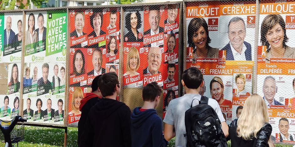 Elections 2014 - affiches électorales - partis politiques - Ecolo - PS - CDH - Joëlle Milquet - Bruxelles