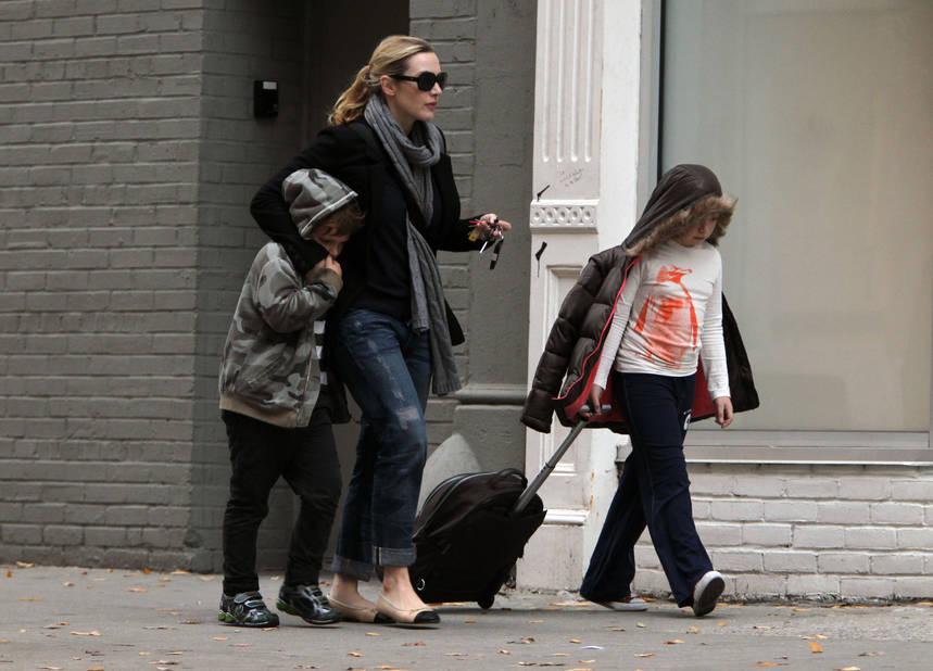 Avec ses enfants, dans les rues de New-York, en 2010.