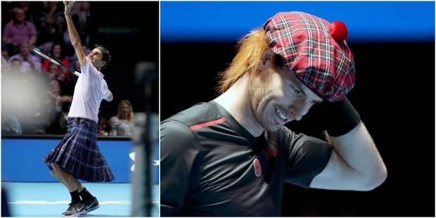 Roger Federer, en kilt, s'impose face à Andy Murray dans un match de charité à Glasgow - La Libre