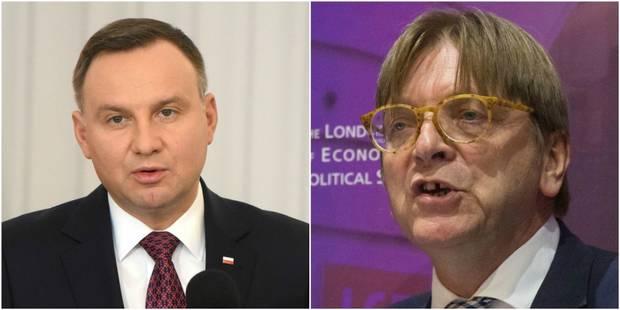 """Pologne: le président Duda juge """"inadmissibles"""" les propos de Guy Verhofstadt - La Libre"""