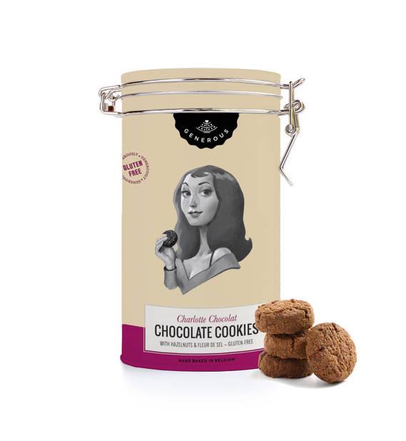 par gourmandise avec cette jolie boîte à biscuits de Generous, des cookies bio et sans gluten. pnc